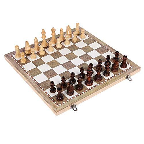 SHBV Juego de ajedrez Plegable de Madera 3 en 1 Juego de ajedrez Internacional Plegable de Madera Divertido Juego de Mesa