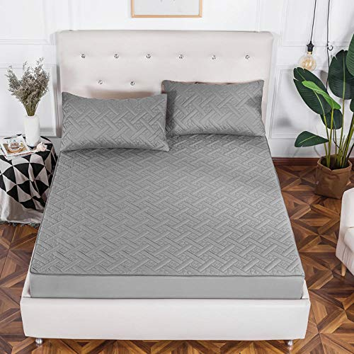 GTWOZNB King Size Microfiber Bed Sheets, Ultra Soft Silky Smooth and Wrinkle-Resistant Thicken all-inclusive bedspread single-elegant gray_1.2 * 2m