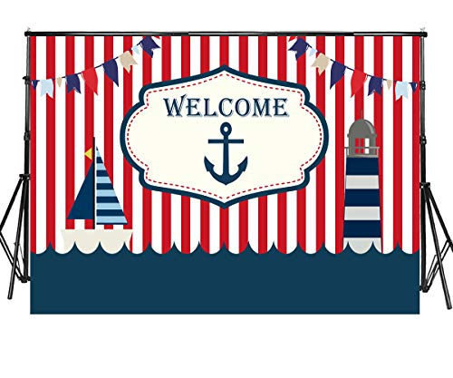Sensfun 7x5ft Nautical Theme Backdrop Red White Striped Marine Voyage Navigation Lighthouse Photography Background for Baby Shower Birthday Dessert Table Photo Booth Banner Photoshoot Props(SXY1066)