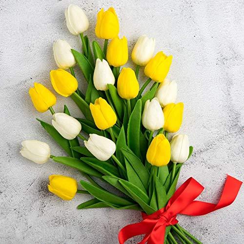 YYHMKB 20Pcs Fiori artificiali Bouquet di tulipani finti Tocco reale Tulipano finto Materiale in lattice per Halloween Giardino domestico Decorazioni floreali Latte bianco e giallo