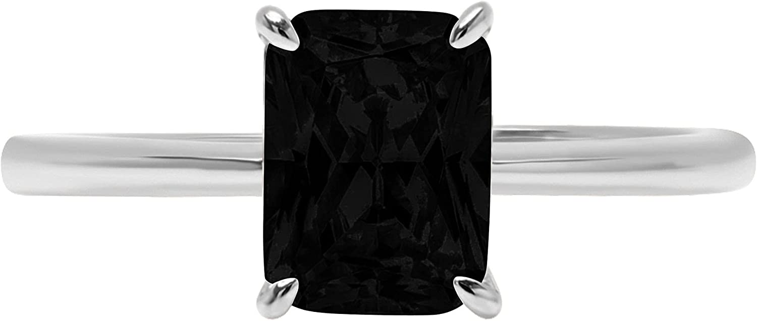 0.9ct Brilliant Radiant Cut Solitaire Flawless Genuine Natural Black Onyx Ideal VVS1 4-Prong Engagement Wedding Bridal Promise Anniversary Designer Ring Solid 14k White Gold for Women