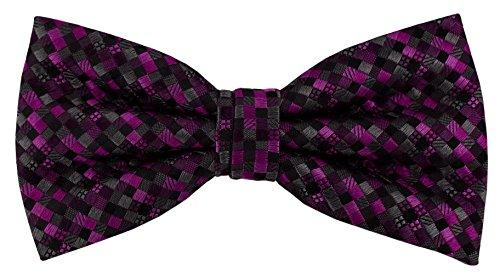 Designer Nœud papillon soie lila violet anthracite noir à motifs - Nœud papillon soie silk