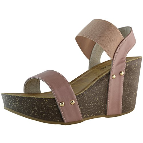DailyShoes Chunky Elastic Strap Slide On Wedge Heels High Wedges Sandal Ankle Open Toe Platform Casual Summer Fashion Hollow Sandals Buckle Shoes Waverly-10 Mauve Pu 7