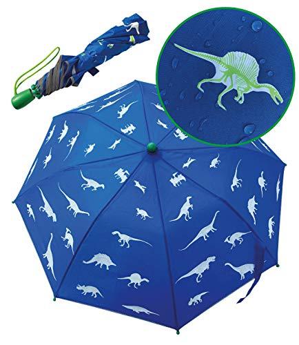 HECKBO Dino Magic Kinder Jungen Regenschirm – wechselt bei Regen die Farbe – Faltregenschirm: passt in jeden Schulranzen – mit Reflektorstreifen an allen Seiten – Holzgriff, Schutzkappen & Schutzhülle