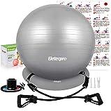 Eletecpro バランスボール ヨがボール エクササイズボール 厚い 固定リング付き 環境にやさしい (グレー, 65cm)