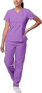 SIVVAN Scrubs for Women - Mock Wrap & Cargo Pants Scrub Set, Lavender, S