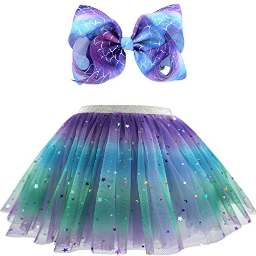 Girls Layered Tulle Rainbow Tutu Skirts with Colorful Hairbow or Butterfly Headband, Girls Dressing Up,Dancing Party Tutu. (Deep Purple, 2-6X)
