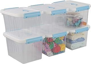 Jandson 6 Quart Clear Latching Box Container, Storage Bin, 6 Packs