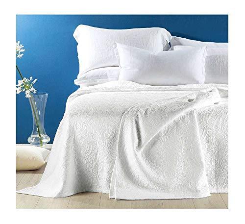Caleffi Elegante & raffinierte Tagesdecke, Nicht gesteppt, aus Panama aus Baumwolle, Taormina Doppelbett Weiß