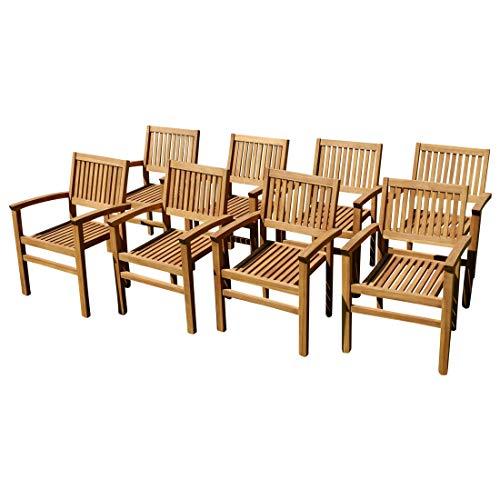 ASS 8Stk ECHT Teak Design Gartensessel Miami Gartenstuhl Sessel Holzsessel Gartenmöbel Stapelstuhl Stapelsessel Teakholz sehr robust stapelbar