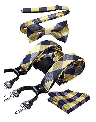 Enlision Bretelle da uomo Papillon fazzoletto Eleganti Larghezza Regolabile Forma a Y Elastica Braces