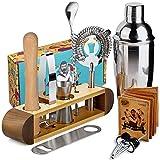 Kit Coctelero Profesional, Kit de 11 Piezas de Coctelería Profesional Perfecto para el Hogar y Set Coctelera Martini para Mezcla Perfecta - Nuez