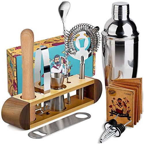 TJ.MOREE Kit de barman avec support, 11 pièces pour cocktails et martini - Noyer