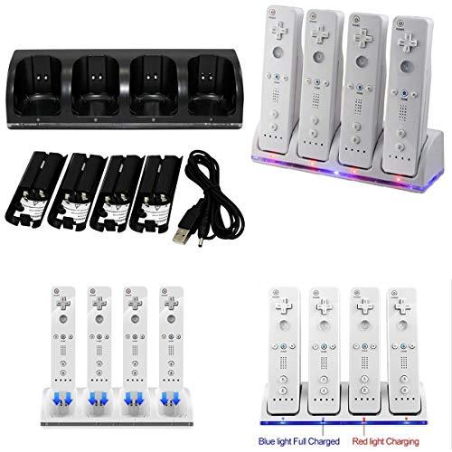 Station de Chargement pour contrôleur 4 en 1 Wii 4 en 1 avec 4 Piles Rechargeables et voyants Del (Color : White)