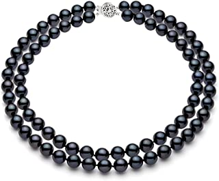 """Double Strand AAAA Quality Black Freshwater Cultured Pearl Necklace for Women 17"""" Sterling Silver Clasp - PremiumPearl"""