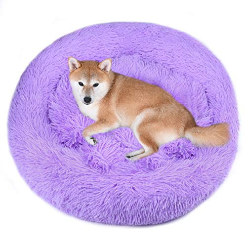 Vivaglory Fur Donut Cuddler, Washable Dog Bed, Self-Warming Dog Cat Bed with Thick Raised Edge, Suitable for Cats & Medium Dog, Lavender, L (36.2''Dx8''H)