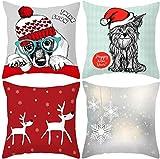 DPJ 4 Stück Weihnachtskissenbezug Home Sofa Dekoration Set Weihnachtsbaum Haar Elch Schneemann Katze und Hund