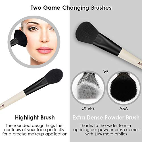 Foundation Makeup Brushes Set - Professional Cosmetic Tools 1 PCS Silicone Face Mask Brush and 32 Pcs are Made of Solid Wood Handle Incarnadine Black