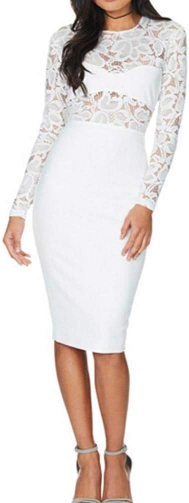 Dresses for Women, Sttech1 Ladies Fashion Solid Lace Openwork Nightclub Long Sleeved Dress Holiday Dress Mini Party Dress (M, White)