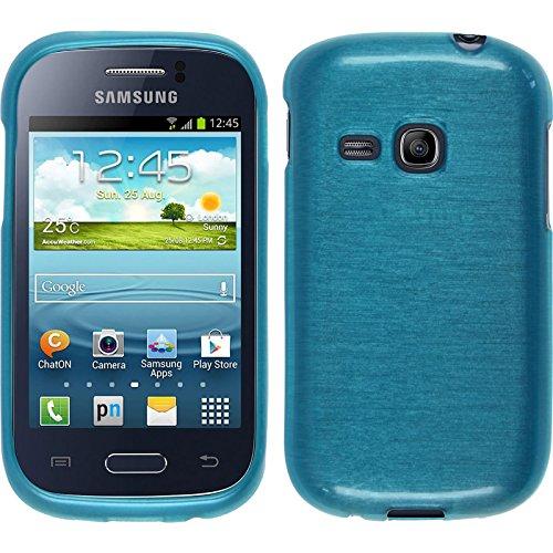 PhoneNatic Custodia Compatibile con Samsung Galaxy Young Cover Blu Brushed Galaxy Young in Silicone + Pellicola Protettiva