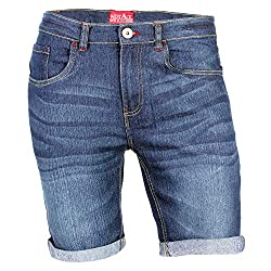 Mens Denim Shorts Stretch Slim Fit Rolled Hem Jeans Half Pants Casual wear 2 Side Pockets, 2 Back Pockets & 1 Front Coin Pocket 98% Cotton & 2% Stretch Enzyme Wash for Extra Comfortable Movement