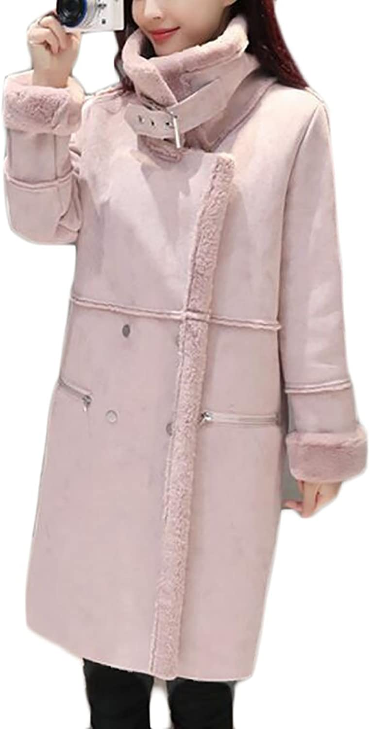 JXGWomen Stylish Long Lamb Wool Double Breasted Suede Trench Coat