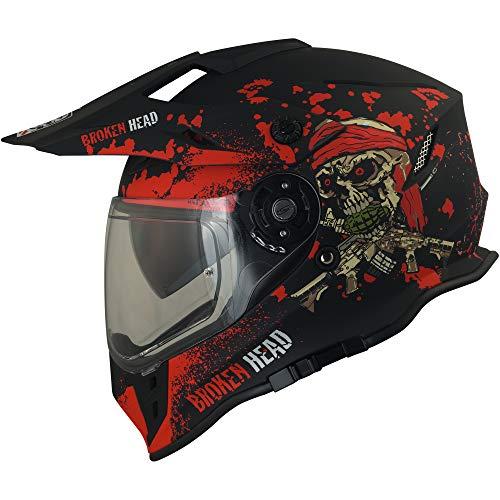 Broken Head Jack S. VX2 Rot - Enduro Cross Helm - Motorrad-Helm Mit Visier & Sonnenblende - Größe L (59-60 cm)
