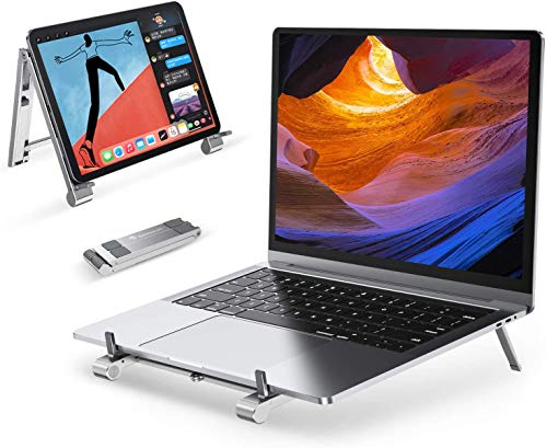 bonsaii Portable Laptop Stand,Ergonomic Aluminum Laptop Computer Stand,Foldable Laptop Riser compatible With Macbook,Air, Pro,ipad More 10-15.6' Laptops,Supports Up to 22 Lbs