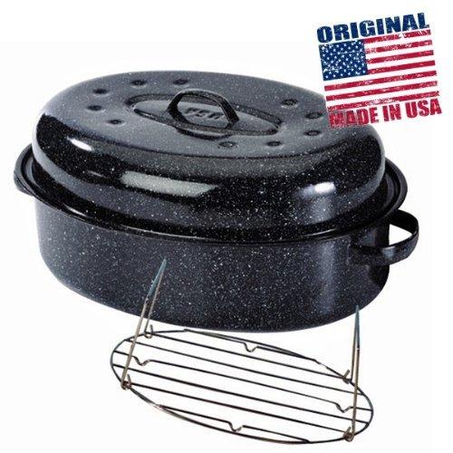 Warmcook - 6106+2007 - Cocotte ovale en acier carbon 33x20cm + grille roaster graniteware