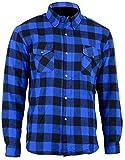 Bikers Gear Australia Motorradhemd, Kevlar Aramid, gefüttert, Flanell, Blau/Schwarz, Größe M