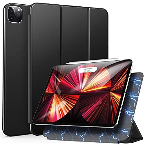 ZtotopCases Funda para iPad Pro 11 Pulgadas 2021/2020, Cubierta Protectora de Soporte Triple con Auto-Sueño/Estela, Ultrafina Magnética Case para iPad Pro 11 2021/2020, Negro
