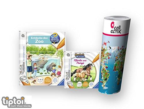 tiptoi Ravensburger Buch Wieso? Weshalb? Warum? 4-7 | Entdecke Den Zoo + Pocket Wissen - Pferde und Ponys + Kinder Tier-Weltkarte