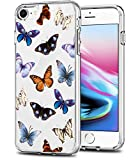 SPEVERT Case for iPhone SE 2020 Case for iPhone 8 Case for iPhone 7 Case,4.7-Inch,Flower Pattern Printed Clear Design Transparent Hard Back Case with TPU Bumper Cover - Butterfly