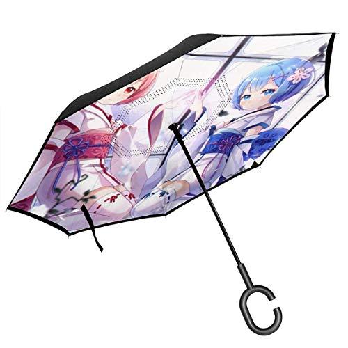 Wieder Null Kara Hajimeru Isekai Seikatsu Anime-Druck-Auto-Rückseiten-Regenschirm, doppelt faltender umgekehrter Regenschirm, mit C-förmigem Griff UV-Schutz umgekehrte faltende Regenschirme Geschenk