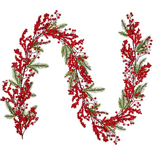 Artiflr 6Ft Red Berry Christmas Garland, Artificial Greenery Garland with Red Berries and Spruce Stems for Holiday Fireplace Mantel Table Home Decorations