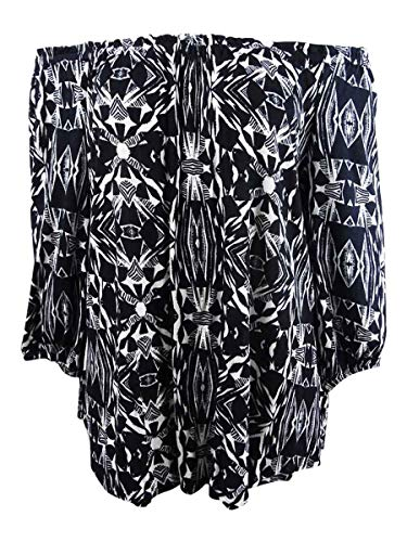 Jessica Simpson Women's Plus Printed Off-The-Shoulder Tunic (1X, Tribal Beats)