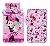 L.T.Preferita Disney Minnie Flowers 3pezzi Set Letto Singolo Copripiumino + Federa + Lenzuola c/Angoli Cotone Biancheria Bambini