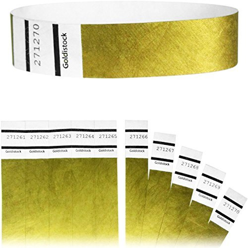 "Heavier Tyvek Wristbands 7.5 Mil - Goldistock Original Series Metallic Gold 200 Count - ¾"" Arm Bands - Paper-Like Party Armbands - Heavier Tyvek Wrist Bands = Upgrading Your Event"