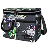 OPUX Insulated Lunch Box for Women Girls, Leakproof Thermal Lunch Bag Cooler Work Office School, Soft Reusable Lunch Tote with Shoulder Strap, Adult Kid Lunch Pail Kit, 14 Cans, Gray Floral