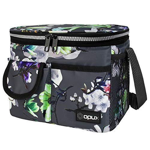 OPUX Lunch Box for Women Insulated Lunch Bag for Girl  Leakproof Reusable Lunch Bag Work Office School  Soft Thermal Lunch Cooler Tote Shoulder Strap Adult Kid  14 Cans Lunch Pail Kit Gray Floral