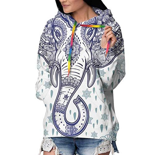 Damen Langärmeliges Kapuzen-Sweatshirt, Slim Fit Outwear Tunika Tops Gr. M, Boho Ethno-Elefant