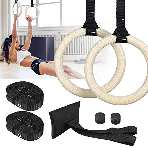 FirstFit Wooden Gymnastics Rings, Roman Ring 100-120 kg Capacity with 14.5ft Adjustable Buckle Straps for Cross Fitness Functional Training for Home Gym Full Body Workout - Off White
