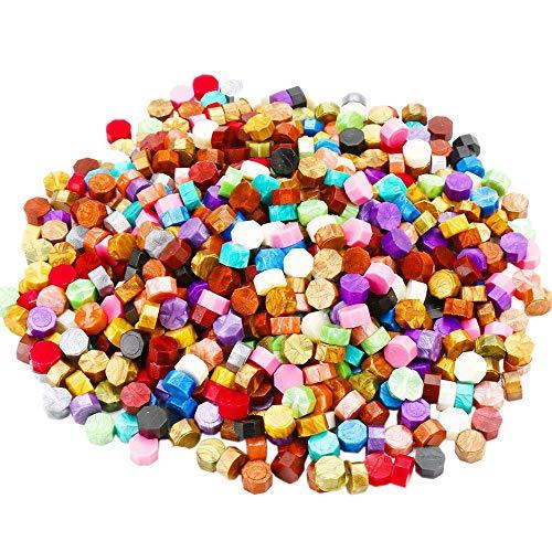 Lopbinte 600 Stücke (24 Farben) Siegel Lack Perlen in Plastik Box mit 2 Stücke Tee Kerzen und 1 Stück Wachs Schmelz L?ffel für Siegel Stempel
