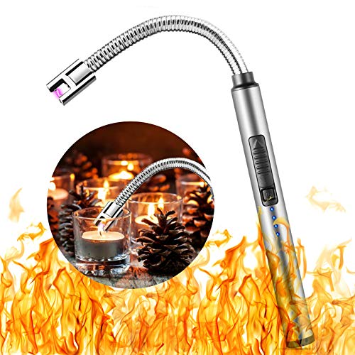 Sinwind Elektronische Feuerzeug, Lichtbogen Feuerzeug, USB Elektronisches Kerzenfeuerzeug, Kerzenanzünder Winddichtes mit Sicherheitsschalter für Feuerwerk,Küche,Grill (Silber A)