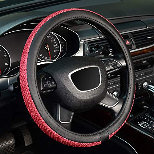 KAFEEK Steering Wheel Cover, Universal 15 inch, Microfiber Leather Viscose, Breathable, Black Red