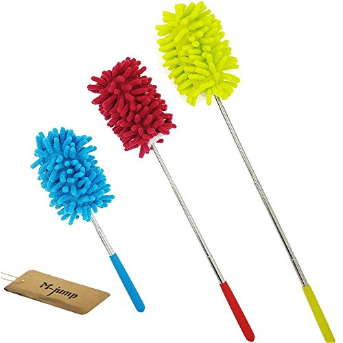 M-jump Retractable Long-Reach Washable Dusting Brush, Microfiber Hand Duster with Telescoping Pole(Set of 3)