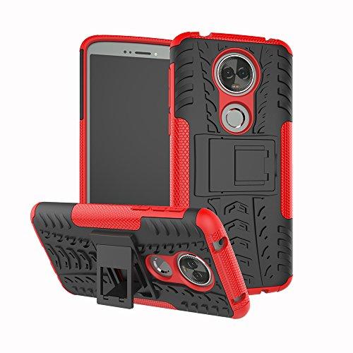 TiHen Handyhülle für Motorola Moto E5 Plus Hülle, 360 Grad Ganzkörper Schutzhülle + Panzerglas Schutzfolie 2 Stück Stoßfest zhülle Handys Tasche Bumper Hülle Cover Skin mit Ständer -rot
