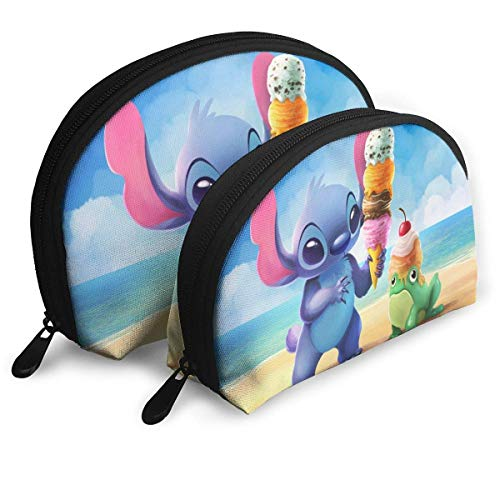Cartoon Stitch Ice Cream Makeup Bag Shell Shape Portable Clutch Pouch Coin Purse for Women Travel Waterproof Zip Storage Bags 2pcs