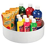 "mDesign Plastic Spinning Lazy Susan Turntable Storage Tray - Rotating Organizer for Craft, Sewing, Hobby, Art Supplies Stored in Home, Classroom or Studio - 11.5"" Round - White"