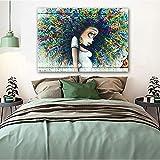 YuanMinglu Imagen de Graffiti de niña de Dibujos Animados de Arte Callejero para Sala de Estar decoración Moderna Pintura Abstracta Lienzo Arte de Pared Pintura sin Marco 60X90 cm